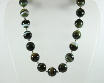 Art Deco Style (1920-1935) Sterling Silver Gold Plate Banded DarkGreen Agate Beaded Necklace