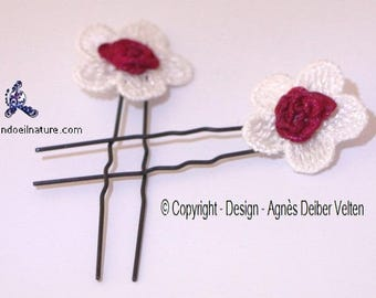 Hair pins. Adorable small white flowers with red flowers