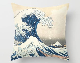 The Great Wave Off Kanagawa By Hokusai Decorative Pillow, Square pillow with\ without zipper