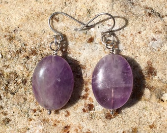 Natural Amethyst 925 Sterling Silver Dangle Earrings