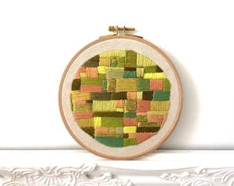 Little green fields, embroidery embroidery hoop