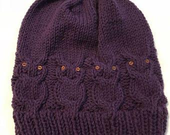 Purple Owl Beanie