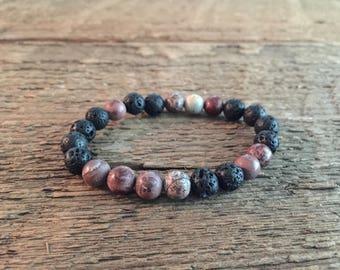 Artistic Jasper 8mm beaded bracelet / Black lava bead bracelet / essential oil bracelet / diffuser bracelet / stretch bracelet /