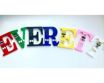Power ranger name letters, hand painted power ramger letters