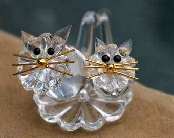 Vintage Lead Crystal Cats - SKLARNY BUDZOV - Bohemia Czech Republic - Cat Lover Gift - Glass Cats Original Gift Box - Live in Moment Vintage