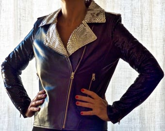 Perfecto NIGHT CALL by GoaGlitters lambskin biker jacket black and silver leather jacket size small and medium