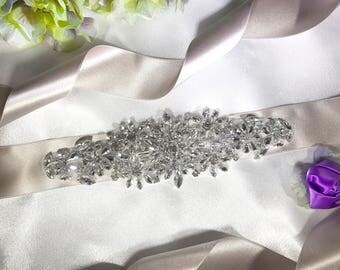 Abstract Clean Crystal Bridal Belt, Wedding Dress Belt, Bride Sash, Bridal Dress, Maternity Sash, Wedding Accessories, Wedding Dress Belt