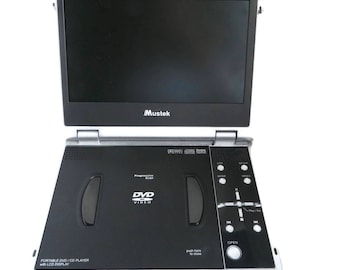 Vintage Mustek Portable DVD Player | 8.5 inch Player | Battery Charger | Headphones | Car Adapter | Black Carrying Case