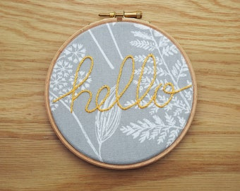 Yellow Gray and White Hello Embroidery Hoop Art - Hand Lettering 'hello' Wall Hanging -Handmade Embroidery Typography Wall Decor 5 Inch Hoop