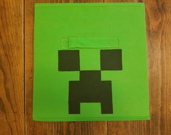 Creeper - Minecraft - Minecraft Storage - Minecraft Inspired - Video Game - Storage Bin - Children's Room - Fabric Storage Organizer - Cube