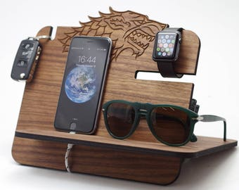 Wooden Docking Station,game of thrones,winter is coming,got,stark,game of thrones gift,got gift,game of thrones,got fan,stark family