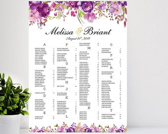 Purple Wedding Seating Chart, Wedding Seating Chart Alphabetical, Printable Wedding Seating Chart, Wedding Decorations, Floral Wedding Sign