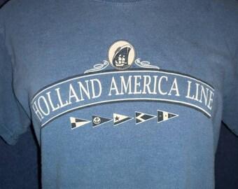 VINTAGE 1980s Holland America Line Tee - Steel Blue