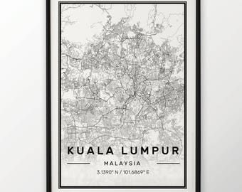 Kuala Lumpur City Map Print Modern Contemporary poster in sizes 50x70 fit for Ikea frame 19.5 x 27.5 All city available London York Paris