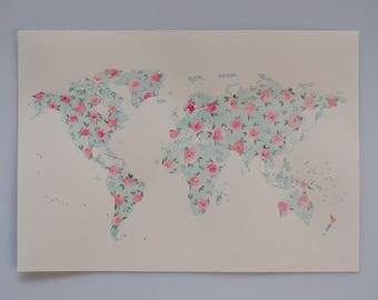 Original, One-of-a-kind Watercolour Art, A4 artwork, Watercolour Flowers, Floral World Map