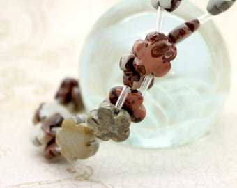 Artistic Jasper Flat Flower Shape Natural Gemstone Beads