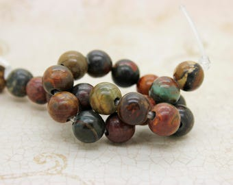 "Red Creek Jasper Smooth Round Gemstone 8mm 10mm Beads (8"" strand - 2.5 mm hole)"