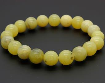 "Butter Jade Pattern Gemstone Beads Size 10mm. Length 8"" Semi-Precious Gemstone Elastic Cord Bracelet Accessories"