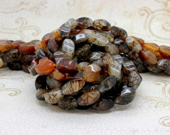 "Spider Web Agate Twisted Puffed Oval Gemstone Loose Beads Bead - Full 15.5"" Strand"