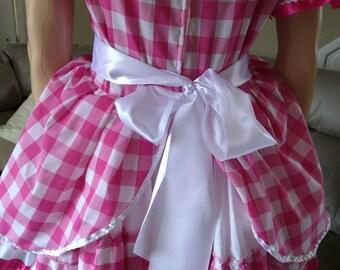Gorgeous pink gingham sissy dress