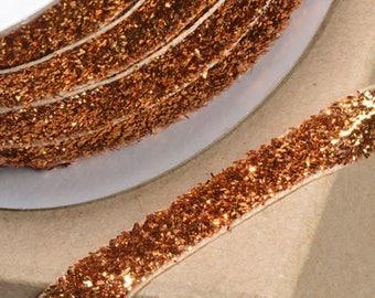 Gorgeous Bronze Gold Velvet Sparkle Glitter Ribbon 10mm Wide x 1 Metre - Card Making Sewing Craft