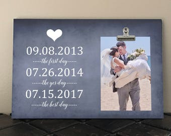 """HUSBAND to WIFE Gift, Free Design Proof, The First Day The Yes Day The BEST Day, Photo Clip Frame 8""""x12"""", Wedding Gift  tf02"""