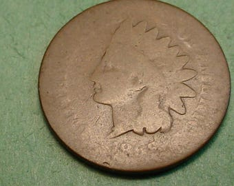 1866  Indian Head Cent Key Date AG / G   FREE SH to United States # ET1129