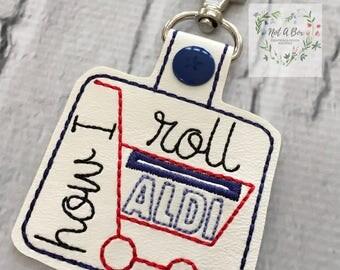 Aldi Quarter Keeper Keychain, Aldi keyfob, Aldi Quarter Holder, Aldi keyring, Aldi Key chain, Quarter Keychain, Snap Tab, Key Fob, Quarter