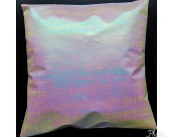 Faux leather holographic/iridescent envelope pillow cover