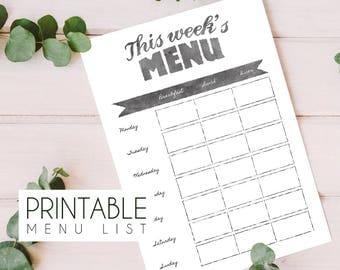 Printable menu planning list