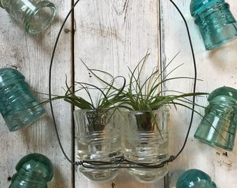 Hanging glass Insulators for airplants, succulents, and candles