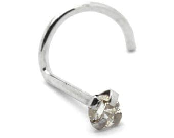 14K Solid White Gold 22G x 7mm Nose Screw/Nose Ring/Nose Stud/Nose Bone with 2mm Diamond
