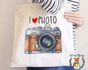 Camera Tote Bag, Watercolor Camera Tote Bag, Watercolor Tote, I Love Photo Tote Bag, Photographer Tote Bag, Beach Tote Bag, TB-044