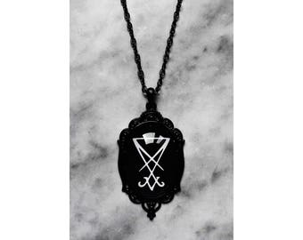 necklace cameo sigil seal of lucifer black satan satanic gothic occult esoteric pagan witch witchcraft witchy dark