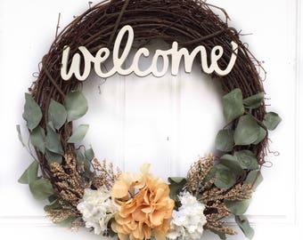 Welcome Wreath | Fall Colors + Greenery Wreath | Fall Wreath | Winter Wreath | Greenery Wreath | Grapevine Wreath | Front Door Wreath