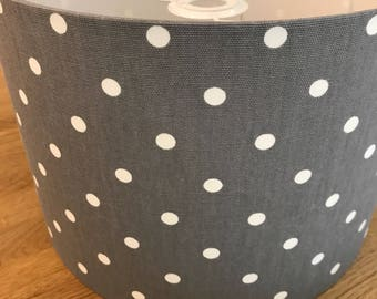 Handmade Dark Slate Grey and White Spotty Lampshade