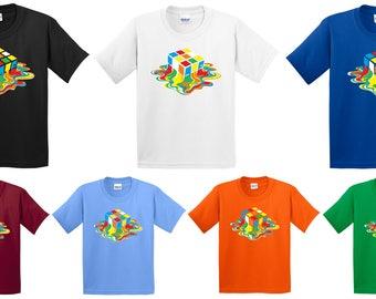 Melting Cubes T Shirt The Big Bang Theory Sheldon Cooper Inspired Puzzle Game Joke Birthday Christmas Xmas Gift Kids Children Unisex Tee Top
