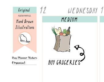PPC28 Groceries Reminder Planner Stickers // Food Planner Stickers  // Shopping Stickers // Grocery Store // Kawaii  // Hand Drawn Stickers