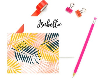 Palm Leaf Note Cards Personalized FLAT Notecards, Tropical Stationary and Envelopes Set, Pink Stationery Custom, SET of 10 CARDS & Envelopes