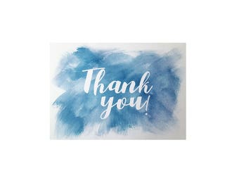 Watercolour Thank You Card & Envelope x 5