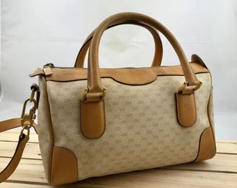 GUCCI Vintage Monogram Canvas Tan Leather Speedy Bag with Shoulder Strap