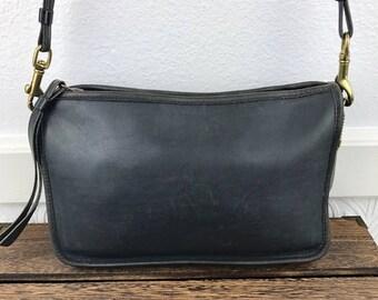 Vintage Coach Navy Leather Purse Wristlet Bag