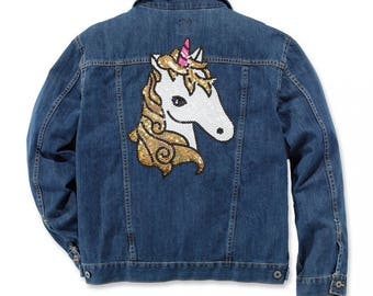 Unicorn Sequin Patches Large Iron On Patch