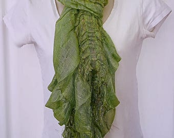 Green shiny spring scarf