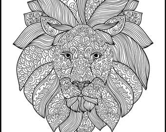 printable adult coloring page animal coloring page lion coloring page for adults gift - Turtle Coloring Pages For Adults