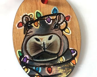 Fiona the Hippo Ornament - Wood Christmas Ornament - Fiona the Hippo - Hand Drawn Hand Painted - FREE personalization - Hippo Art