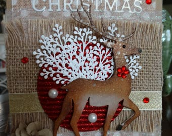Deer Stag on Burlap Christmas Card