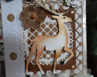 Elegant Hand Made Christmas Card Prancing Deer