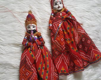 SALE Radha Krishna vintage puppets, wall hanging.