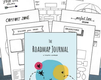 The Roadmap Journal - a creative workbook | 60 pages | Printable | Habits | Goals | Life management & creation